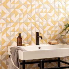 Original Style - Hawthorn Yellow - Victorian Floor Tiles - Tile Of Year 2021 Yellow Tile, Yellow Bowls, Yellow Home Accessories, Dover White, Yellow Cushions, Geometric Tiles, Bathroom Paint Colors, Yellow Bathrooms, Style Tile