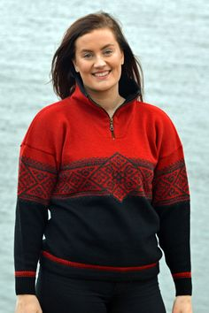 Norwegian sporty sweater in a traditional pattern. A classic nordic sweater in wool Nordic Sweater, Men Sweater, Cardigans For Women, Knitwear, Sporty, Wool, Jackets, Fashion, Down Jackets