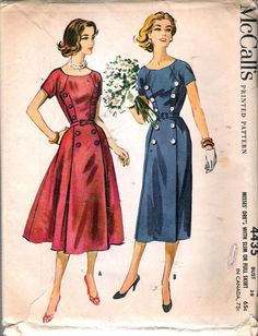 """Vintage 1958 McCall's 4435 Dress With Slim Or Full Skirt Sewing Pattern Size 18 Bust 38"""""""