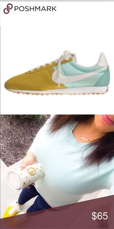 Mint and yellow vintage nikes So cute. Worn once. Just needs a new home. Purchased from jcrew. Comes in original Nike box Nike Shoes Sneakers