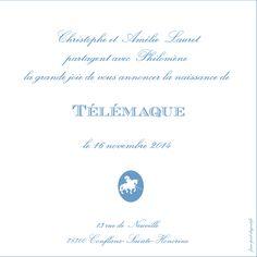 Faire-part de naissance, modèle TELEMAQUE, collection Classique & Epurée, format carré.