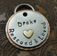 ID Dog Tag Rescued and Loved with Heart by IslandTopCustomTags, $27.00
