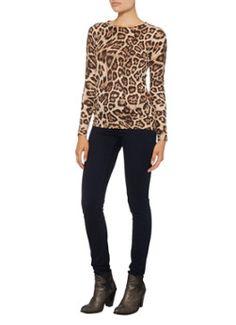 Warehouse Gebreide trui met ronde hals en luipaardprint