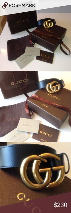 Gucci GG gold buckle black belt AAA ! Comes with box, dust bag, bag, and everything you see in the pictures! This belt retails for $980 , so don't ask the obvious. NO PAYPAL NO MERCARI NO TRADES. Size 100-40. 100cm - 40 in (jeans size 36/38/40) men or women. Gucci Accessories Belts