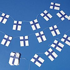 Flag garland. It's a tradition to have a garland like this in Christmas tree in Finland.