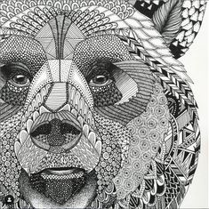 Highly detailed abstract wolf illustration Wall Mural ✓ Easy Installation ✓ 365 Days to Return ✓ Browse other patterns from this collection! Zentangle Drawings, Zentangle Patterns, Doodle Drawings, Animal Drawings, Doodle Art, Zentangle Animal, Doodles Zentangles, Pencil Drawings, Wolf Illustration