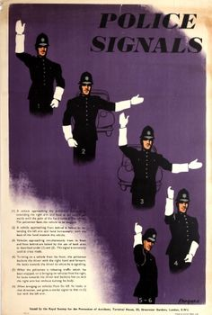 Police Signals, 1939 - original vintage road safety poster by Krogman issued by the Royal Society for the Prevention of Accidents (RoSPA) listed on AntikBar.co.uk