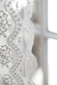 Add spring frill to your room with lace curtains. They'll look beautiful with a little sunshine and a natural looking Pergo floor. All White, Pure White, White Lace, Estilo Shabby Chic, Organza, Fru Fru, Lace Curtains, Vintage Curtains, White Curtains