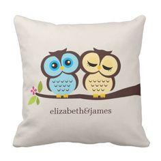 Blue and Yellow Owls Wedding ceremony Throw Pillow. >>> Look into even more at the picture