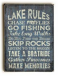 Lake Rules II Wood Sign This Lake Rules II Wood Sign is a great addition to a lake house, cabin or lodge. The sign is a hand distressed planked wood design made of birch wood. The sign comes ready to                                                                                                                                                                                  More