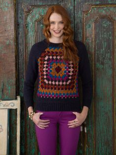 Granny Raglan Pullover is knit and crochet but crocheters can make this by just crocheting the whole pullover if they are skillful enough.