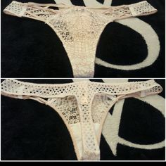Victoria's Secret?Very Sexy Collection Thong? NWT Victoria's Secret?  Very Sexy Collection  Thong?Panty  in Ivory Lace with Light Beige Embroidery over See-Through Mesh with?Light Beige?Elastic Strappy Accents in the Front,?and with an Ivory Crocheted-Looking?Lace Thong Back SIZE L Victoria's Secret Intimates & Sleepwear Panties