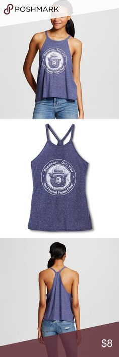 Smokey the Bear Graphic Tank NWT Smokey the Bear Graphic Tank High halter style with open back .  Light heathered blue color. Size Small (runs small in my opinion) NWT Tops Tank Tops