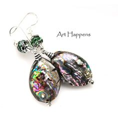 """Abalone Shell Earrings With Swarovski Crystal Accents on Sterling Silver Earwires, """"Swirls"""""""