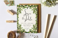 Printable Save the Date Card, Simple Save the Date, Garden Wedding, DIY Greenery Bridal Stationary, Green Leaves Botanical Card by plpapers on Etsy https://www.etsy.com/listing/452105496/printable-save-the-date-card-simple-save