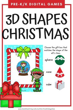 Kids will help the Christmas Elf choose the correct gift box to match the 3d shape of their item. 20 real like objects included. Use these task cards as a fun center to improve math skills in preschool and kindergarten. This digital resource is compatible with google classroom and seesaw and perfect for distance or homeschooling.  #digital #boom #task cards #math #count #number #pre-k #preschool #kindergarten #shape #christmas #santa #elf #gift #present #3d Interactive Learning, Learning Games, Educational Activities, Circle Time Games, Seesaw, Preschool Kindergarten, Math Skills, Google Classroom, Business For Kids