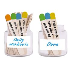 When you usually work out but want to mix things up, try making a motivation jar with fun exercise ideas written on wooden popsicle sticks. #workouts #motivation