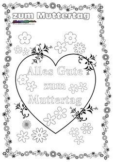 Muttertag Ausmalbild & Malvorlage Gruß mit Herz   Family ...