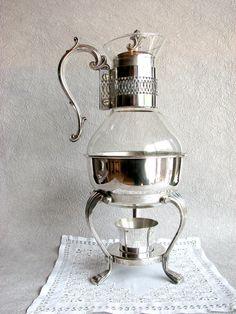 1930s F.B. Rogers Silver Plate & Glass Coffee Warmer Samovar