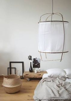 Image result for bamboo and white cotton pendant light