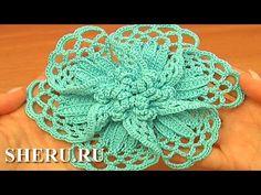 ▶ Великолепный вязаный цветок Урок 101 часть 1 из 2 Вязание крючком - YouTube