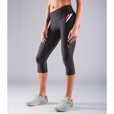 Virus Women's Stay Cool Compression Crop Pants-Black and Pink