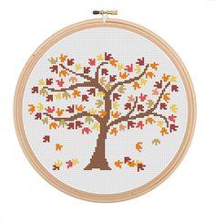 Instant Download Autumn Tree Cross Stitch Pattern autumn season cross stitch orange rust brown and yellow