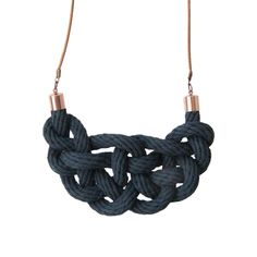 Crayon Chick – Knot Necklace. This striking necklace features a decorative knot made from 100% natural cotton rope which has been hand-coloured • Available at thebigdesignmarket.com