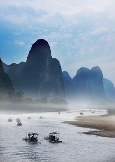 Li River, Guilin China  Along the 100-kilometer stretch of the Li River, mountain peaks rise into the sky. It is one of China's most famous scenic areas, featured in many scroll paintings. The imagery of the Li River is featured on the fifth series of the 20 yuan note.