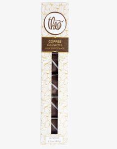 Theo - Coffee Caramel - Milk Chocolate - Buttery Caramel blended with lush Congolese Caffe Vita coffee, enrobed in milk chocolate with a white chocolate flourish.