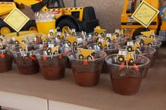 The Penner Clan: It's a Construction Birthday Party! Brownies in dump cups.