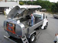 Oil Truck Turned into a Barbecue Grill - Serious Tailgating! Volkswagen, Vw Bus, Off Road, Custom Trucks, Big Trucks, Motorhome, Supercars, Cool Cars, Funny Pictures