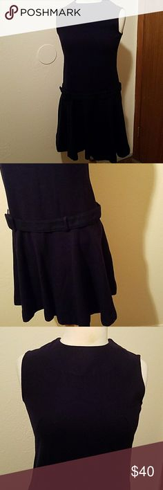 Vintage drop waist dress Perfect condition!  Wool, navy blue dress with low waist belt.  So adorable!  18 inches across the bust, 17 inches across the waist and 35 inches long. Vintage Dresses