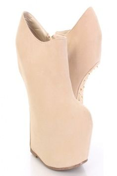 4949c19838ee7a Beige Gold Faux Suede Studs Spikes Detailing Wedges   Sexy Clubwear