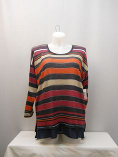 PLUS SIZE 2X Knit Top JESSICA SIMPSON Multi Color Striped Scoop Neck Long Sleeve #JessicaSimpson #KnitTop #Casual