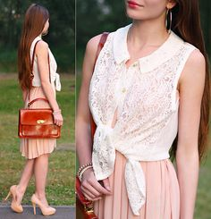 Awwdore Pleated Pink Dress, Asos Brown Leather Bag, Awwdore Peter Pan White Lace Top, H&M Gold Earrings, Kapp Ahl Pearl Bracelets, Asos Beige Heels