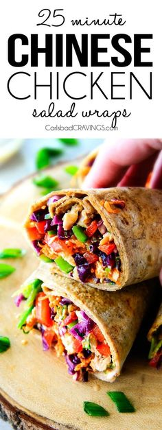 25 MINUTE fresh and crunchy Chinese Chicken Salad Wraps are your favorite Chinese salad in easy, satisfying, healthy portable wrap form! The vibrant dressing is amazing and the addition of Sweet Chili Sauce takes these to a whole new level!  I love having this filling on hand!