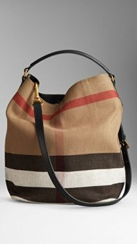 Medium Canvas Check Hobo Bag from Burberry. Saved to Things I want as gifts. Shop more products from Burberry on Wanelo. Handbags Michael Kors, Michael Kors Bag, Purses And Handbags, Cheap Handbags, Big Purses, Popular Handbags, Cheap Purses, Mk Handbags, Large Purses