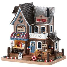 Elmo's Brasserie Item # 85337 Features Include: Lighted building With cord fe Department 56 Christmas Village, Lemax Village, Christmas Village Display, Christmas Villages, Villas, Christmas Village Collections, Light Building, Ceramic Houses, Model Train Layouts