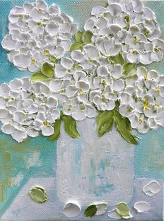 White Hydrangea Painting Impasto Painting White by KenziesCottage Texture Painting, Painting & Drawing, Large Painting, Art Floral, Hydrangea Painting, Open Art, Palette Knife Painting, Painted Signs, Painting Techniques
