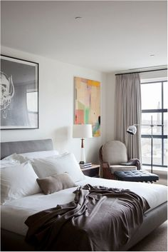 Like the gray with navy accents.  Especially like idea of a cozy chair in corner by his bed