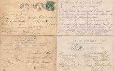 Antique Images: Free Digital Background: 4 Vintage Postcard Backs Digital Background Collage Sheet with Post Mark 1911