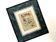 Antique Bicycle Wall Hangings, Fiber Art Quilts, French Bike print, Pink Placemat, Table Toppers, Quilted Floral, Bike Lovers Gift, Quilted
