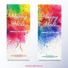 Banners Holi com respingos de tinta