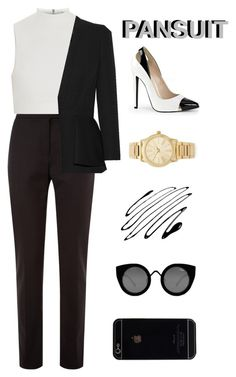 """""""pansuit"""" by brimariek ❤ liked on Polyvore featuring Damsel in a Dress, Elizabeth and James, Alexander McQueen, Michael Kors, Quay and thepantsuit"""