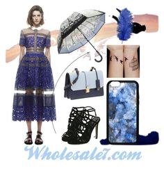 """Ball Gown Lace Blue Maxi Dress"" by wholesalevivianguo ❤ liked on Polyvore featuring Eurø Style, Miu Miu, Blue, short and lacedress"