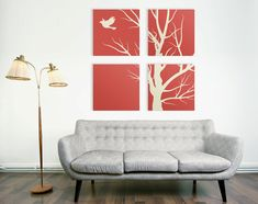 Modern Nature Canvas Print, 4 Piece Art, 4 Set Square Canvas Art, Large Canvas Print, Tree Canvas Art, 36x36 Wrapped Canvas, Living Room Art  #prints #printable #painting #canvas #empireprints #teepeat