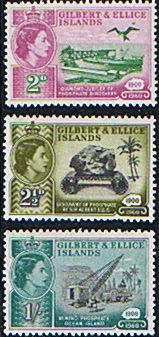 Gilbert and Ellice Islands 1960 Diamond Jubilee of Phosphate Set Fine Mint SG 76/8 Scott 73/6 Other Gilbert Island Stamps HERE