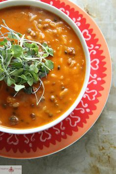 Spicy Tomato Lentil Soup…easy to customize when you start with a ready-prepared tomato soup!