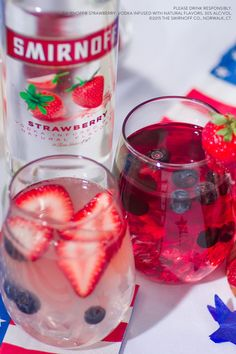 Plan your July party like a patriot with these two Freedom Punch recipes. Ingredients: cups Smirnoff Strawberry 3 cups Cranberry Juice OR 2 cups Lemonade. Vodka Drinks, Party Drinks, Cocktail Drinks, Fun Drinks, Yummy Drinks, Cocktail Recipes, Vodka Slush, Beach Drinks, Cocktail Ideas